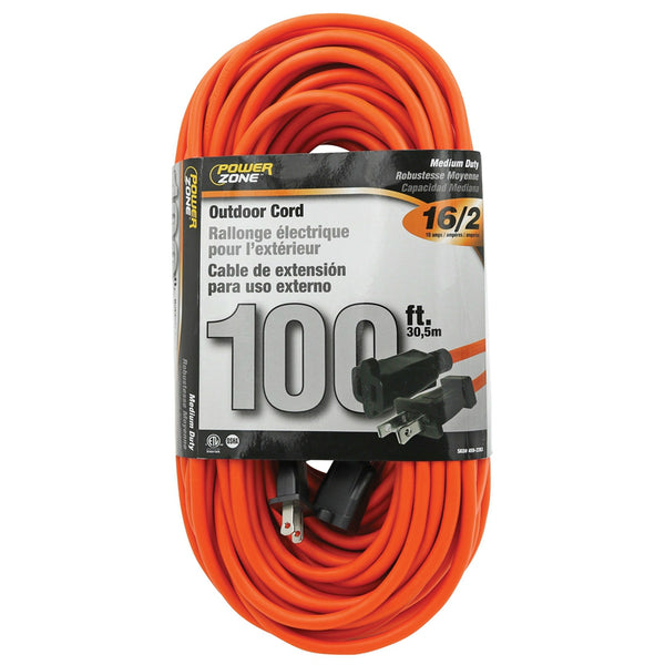 PowerZone OR481635 Medium Duty Outdoor Extension Cord, Orange, 16/2 SJTW, 100'