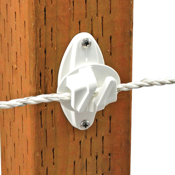 Powerfields R-CW-25-W Claw Wood Post Insulator, White, 25-Pack
