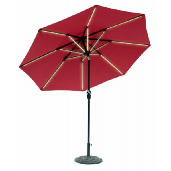 Sun-Ray 851028 Round Umbrella with Scarlet Olefin Canopy, 9'