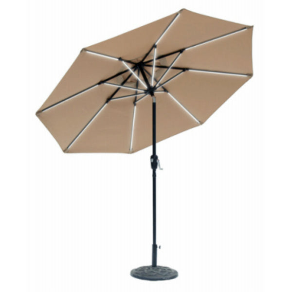 Sun-Ray 851042 Round Umbrella with Taupe Olefin Canopy, 32 Led, 9'