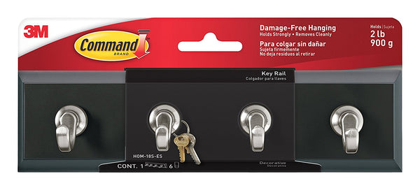 "Command HOM-18S-ES Slate Key Rail 8"" with 6 Adhesive Strips"