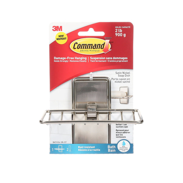 Command BATH34-SN-ES Bath Soap Dish with 2 Strips, Satin Nickel
