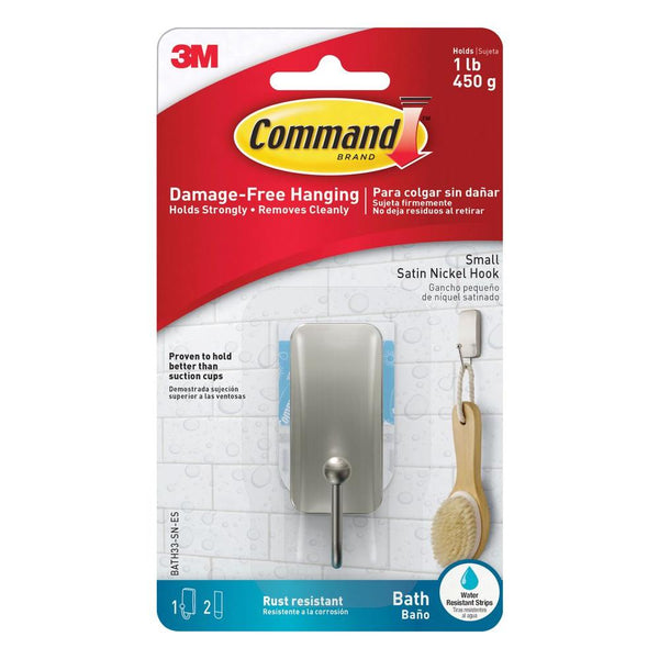 Command BATH33-SN-ES Small Bath Hook with 2 Strips, Satin Nickel