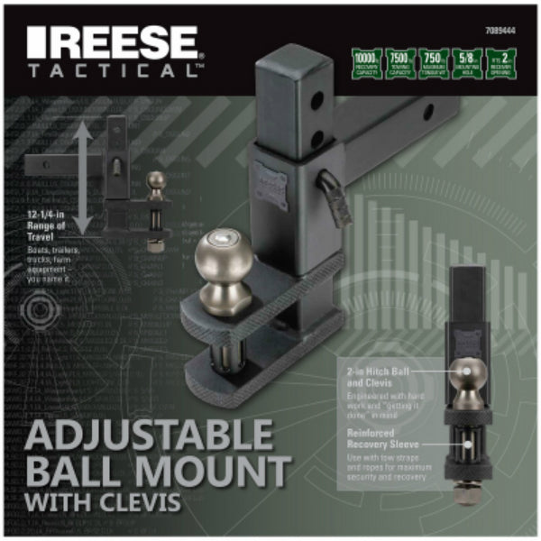 Reese Tactical 7089444 Ball Mount With Clevis, 7500 Lbs