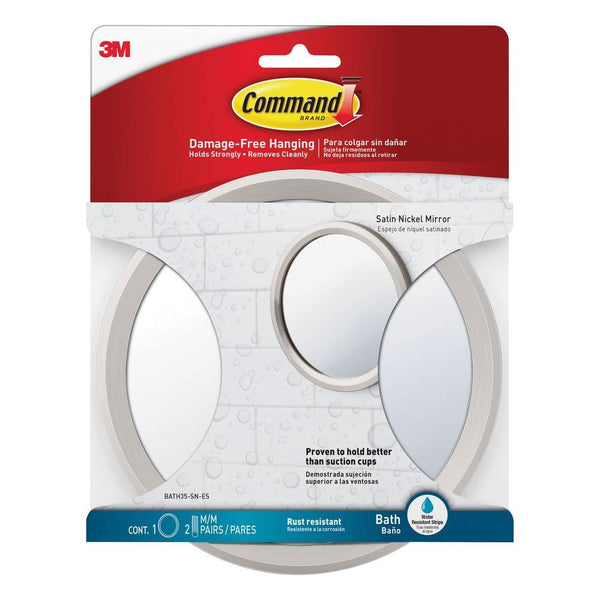 Command BATH35-SN-ES Bath Mirror with 2 Pairs of Strips, Satin Nickel