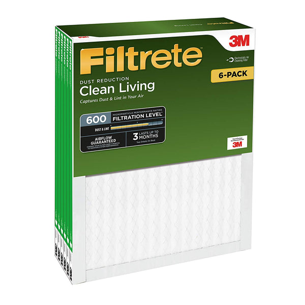 "Filtrete 9880DC-6 Clean Living Dust Reduction Air Filter, MPR 600, 12""x12""x1"""