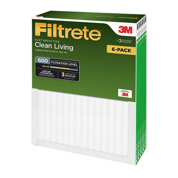 "Filtrete 9837DC-6 Clean Living Dust Reduction Air Filter, MPR 600, 18""x18""x1"""