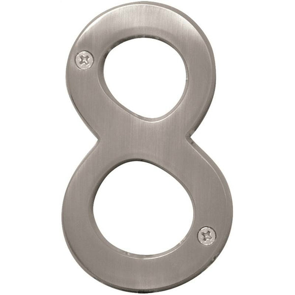 Hy-Ko BR-43SN/8 Solid Brass House Number 8, Satin Nickel, 4""