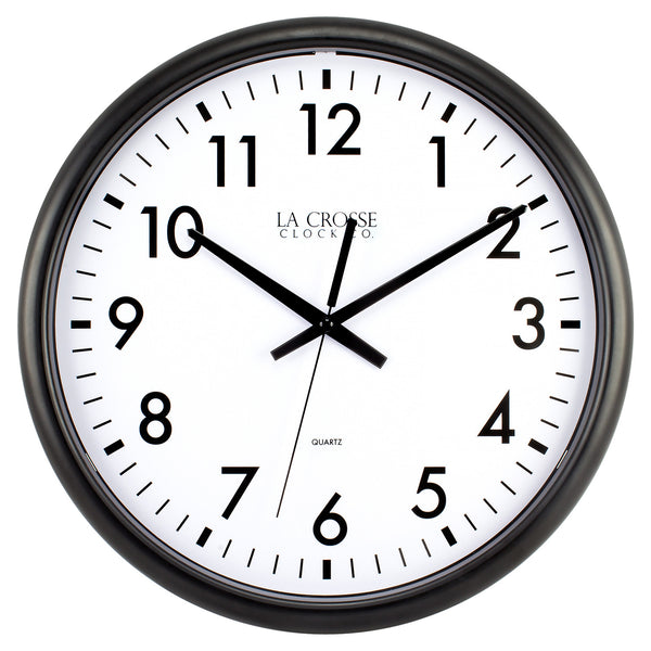 La Crosse 404-2634-INT Thinline Wall Clock with Black Plastic Frame