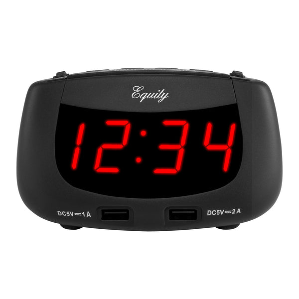 Equity 30416 Dual USB Alarm Clock with Red LED
