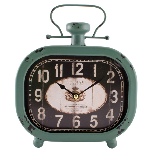 La Crosse 404-3425 Analog Metal Clock with Turquoise Case