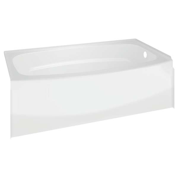 "Delta 40114R Right Drain Curved Bathtub, High Gloss White, 60"" x 30"""