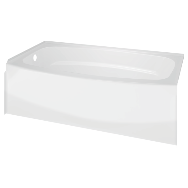 "Delta 40114L Left Drain Curved Bathtub, High Gloss White, 60"" x 30"""