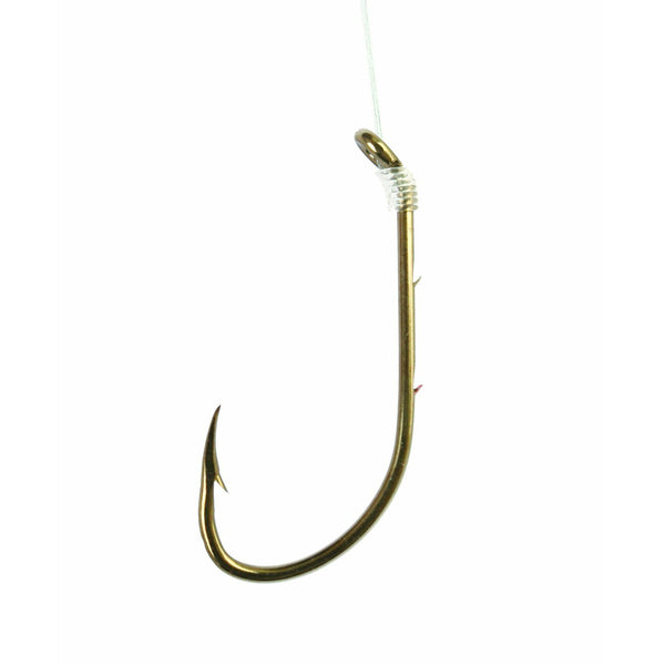Eagle Claw 0848-0104 Baitholder Bronze Snelled Hooks, Size 1, 6-Pack