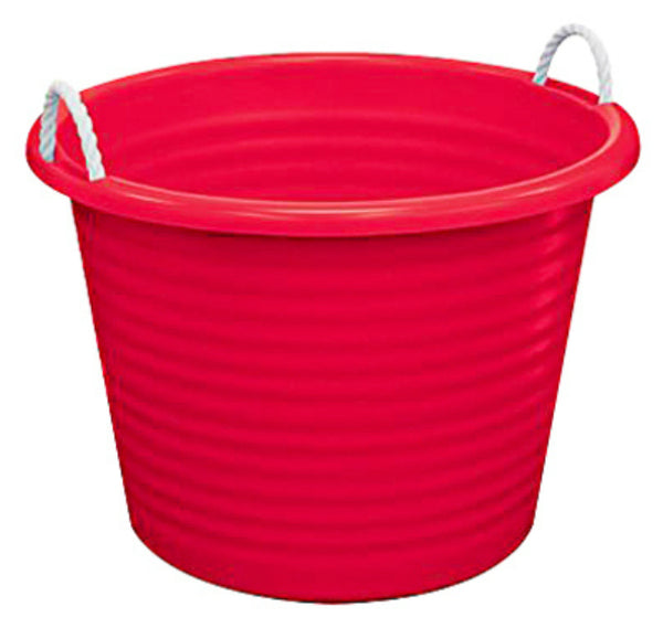 United Solutions TU0095 Rope Handle Utility Tub, Cherry Red, 17 Gallon