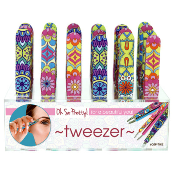 Oh So Pretty OSP-TWZ Paisley Design Silicon Tweezers Display, Assorted Patterns