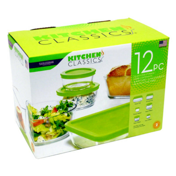 Kitchen Classics 195-92235LIB Glass Food Storage Set, 12-Piece