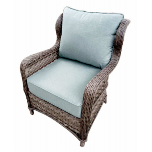 Four Seasons Courtyard HJ-G-1293 Geneseo Lounge Chair w/ Blue Cushions, 2-Pack