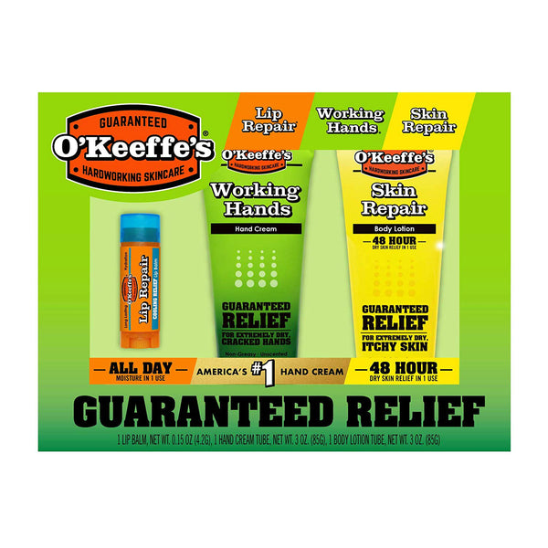 O'Keeffe's K0980023 Working Hands Cream/Skin Repair Lotion/Lip Repair Balm, 3-Pk