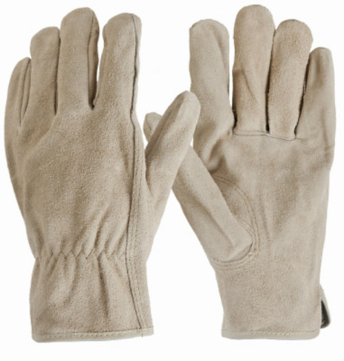 True Grip 9113-26 Men's Suede Cowhide Glove with Shirred Elastic Wrist, Large