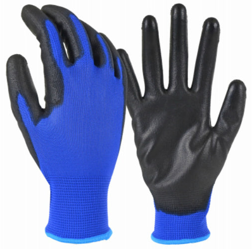 True Grip 98477-26 Polyurethane Palm Glove with Blue Polyester Shell, Large
