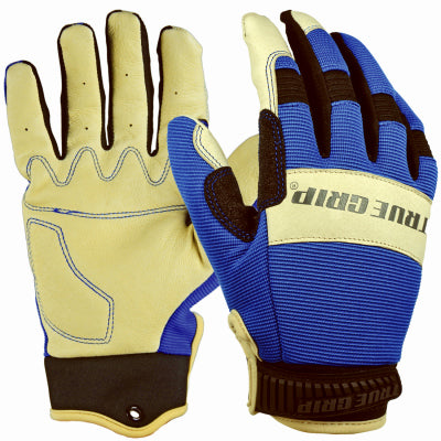 True Grip 99516-23 Men's Blue Pigskin Hybrid Gloves, Medium
