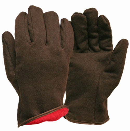 True Grip 9927-26 Men's Brown Jersey with Red Fleece Lined Winter Glove, Large