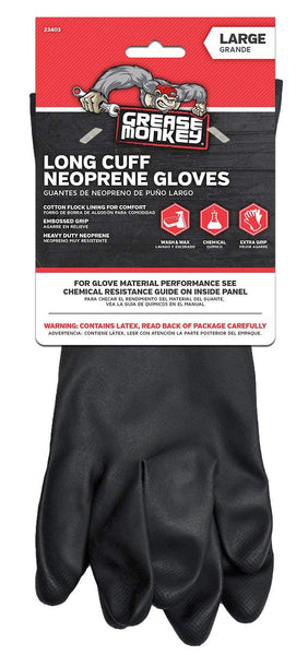 Grease Monkey 23403-26 Long Cuff Neoprene Gloves, Black, Large