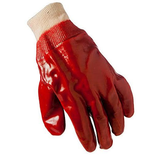 Grease Monkey 25040-26 Men's Red PVC Coated Knit Wrist Glove, Large