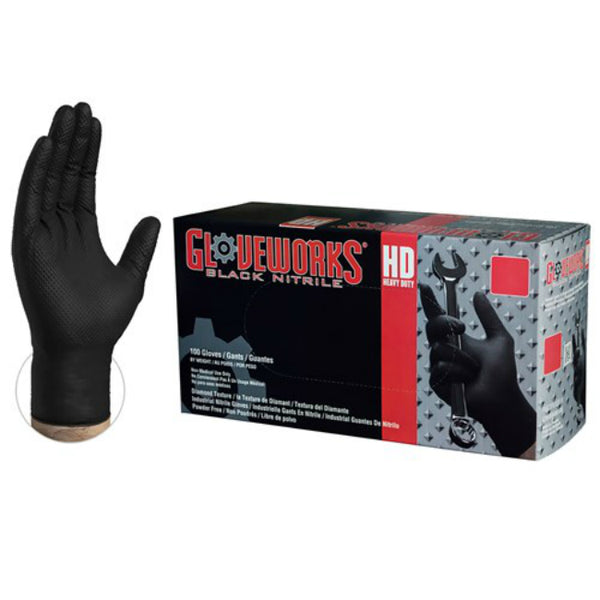 Gloveworks GWBN46100 HD Black Nitrile Latex Free Disposable Glove, Large, 100-Ct