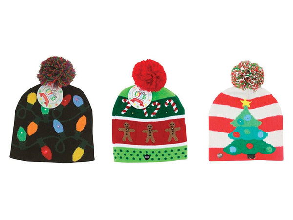Lotsa Lites X-LTHAT-U18 Christmas Light-Up Flashing Knitted Hat, Assorted