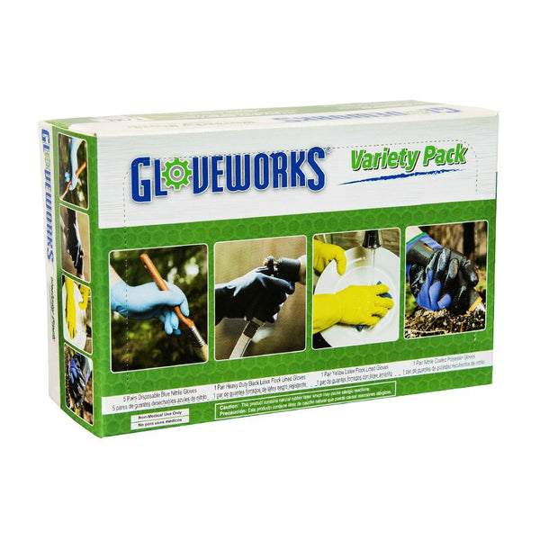 Gloveworks GWDIY- L/XL Industrial Grade Variety Pack Gloves, Assorted Colors, 16-Ct