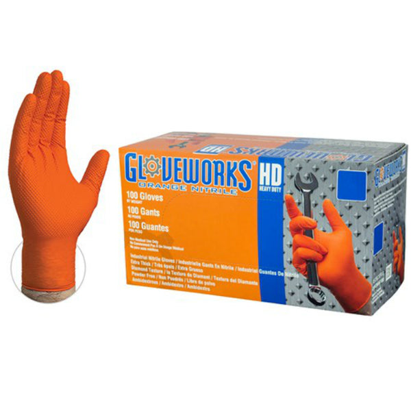 Gloveworks GWON48100 Orange Nitrile Latex Free Disposable Glove, XL, 100-Ct
