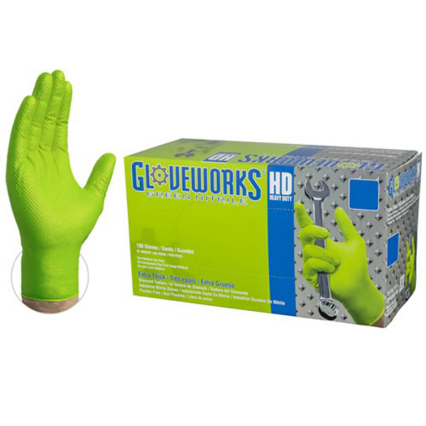 Gloveworks GWGN46100 HD Green Nitrile Latex Free Disposable Glove, Large, 100-Ct