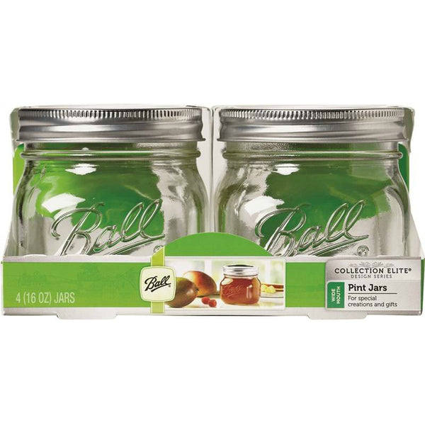 Ball Collection 61180 Elite Wide-Mouth Glass Mason Jar with LId, 16 Oz, 4-Count