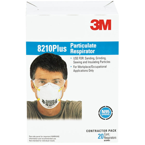 3M 8210PB1-A/8210+ Tekk Protection Particulate Respirator, N95, 20-Pack