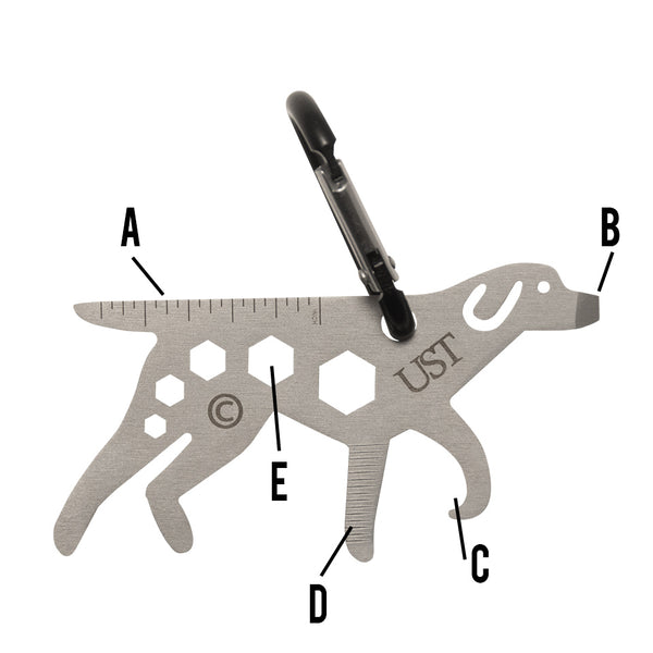 UST 20-02756 Dog Tool-A-Long Multi-Tool Carabiner, Stainless Steel