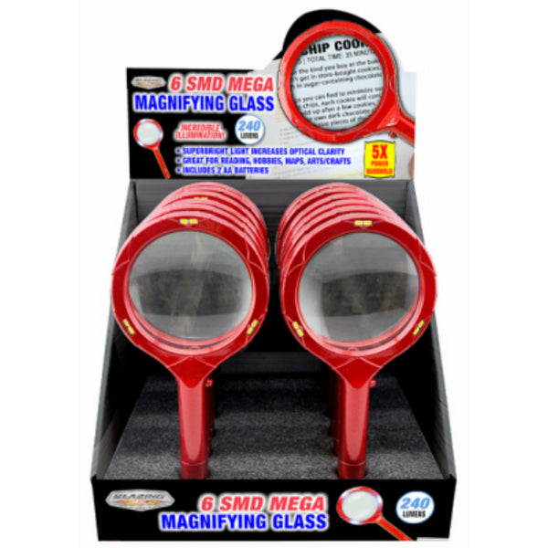 Blazing LEDz 702423 6-SMD Mega Magnifying Glass with Batteries, 240 Lumens
