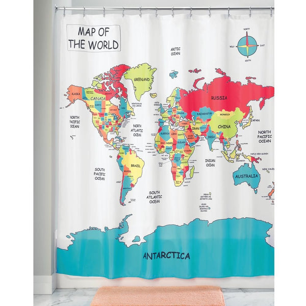 "InterDesign 71420 World Map Shower Curtain, 72"" x 72"""