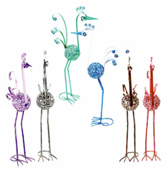 Exhart 53153 Metal Filigree Bird Statue w/ Grounding Stake, Assorted Colors, 21""