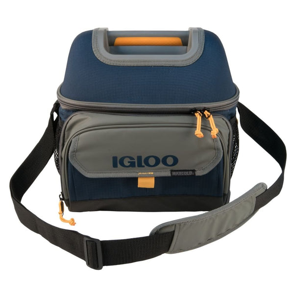Igloo 63023 Playmate Maxcold Hardtop Gripper 22-Can Cooler Bag, Slate Blue/Tan