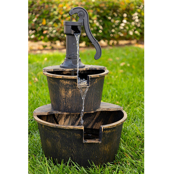 Alpine TIZ194BZ Two-Tier Barrel & Pump Fountain, Polyresin