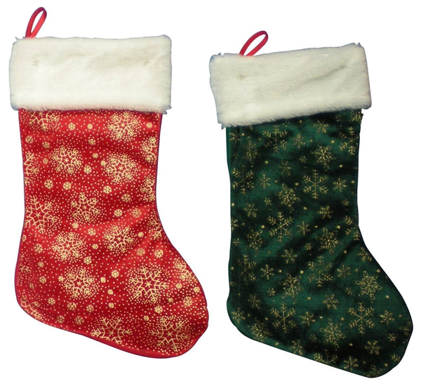 Santas Forest 28321 Christmas Red/Green Stocking, 18""