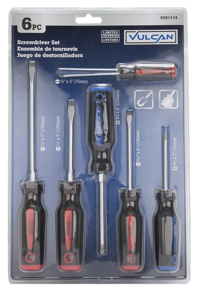 Vulcan SD-SET-6 Satin Chrome Plated Screwdriver Set, 6-Piece