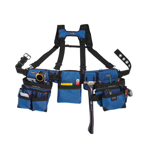Bucket Boss 55185-RB Three Bag Framer's Rig with Chest Strap Buckle, Royal Blue