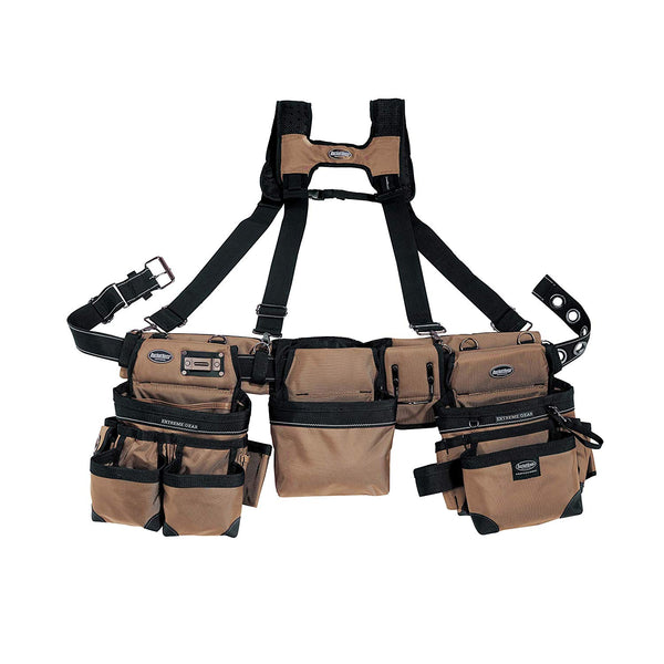 Bucket Boss 55185-TN Three Bag Framer's Rig with Chest Strap Buckle, Tan
