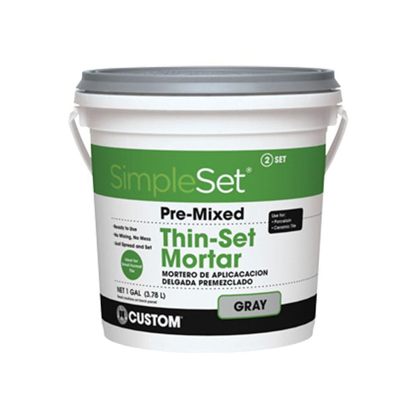 Custom Building CTTSG1-2 SimpleSet PreMixed ThinSet Mortar, Gray, 1-Gallon