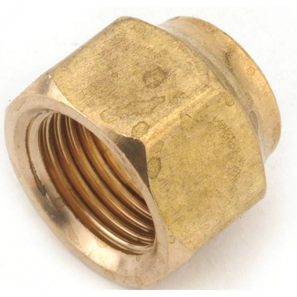 "Anderson Metals 754018-04 Brass Short Forged Flare Nut, 1/4"", 1400 PSI"