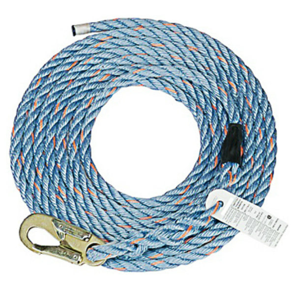 Safety Works 10096516 Vertical Lifeline Rope with Snap Hook, 50' x 5/8""