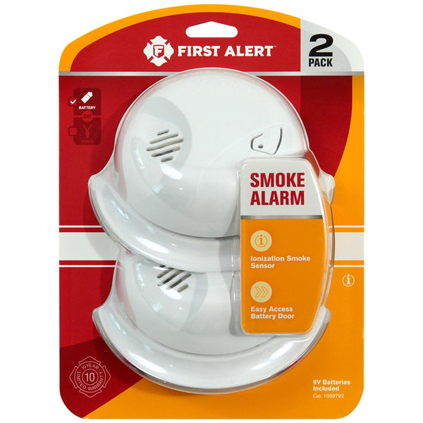 First Alert 1039792 Battery Operated Ionization Smoke Alarm, 2-Pack